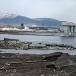 被災直後の陸前高田市 遠くに奇跡の一本松が写る