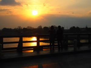 嵐山 渡月橋と初日の出