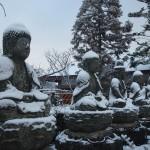 五智山蓮華寺 雪の五智如来像