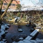 高瀬川源流庭園の雪景色