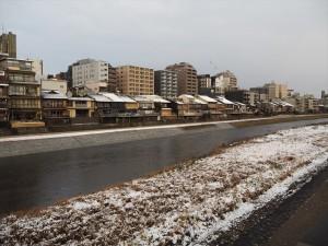 鴨川の雪景色