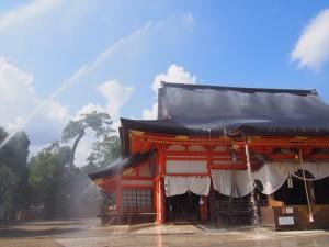 八坂神社 点検放水