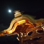 大覚寺 勅使門と月