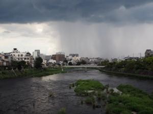 七条大橋からの雨柱