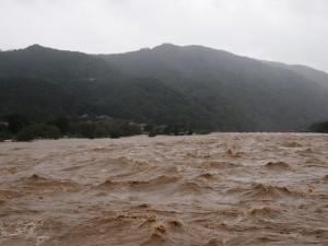 台風18号水害 桂川 9月