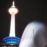 京都タワーと音楽噴水