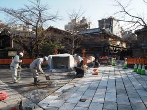 祇園白川 補修中の石畳