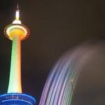 京都タワークリスマスライトアップと音楽噴水